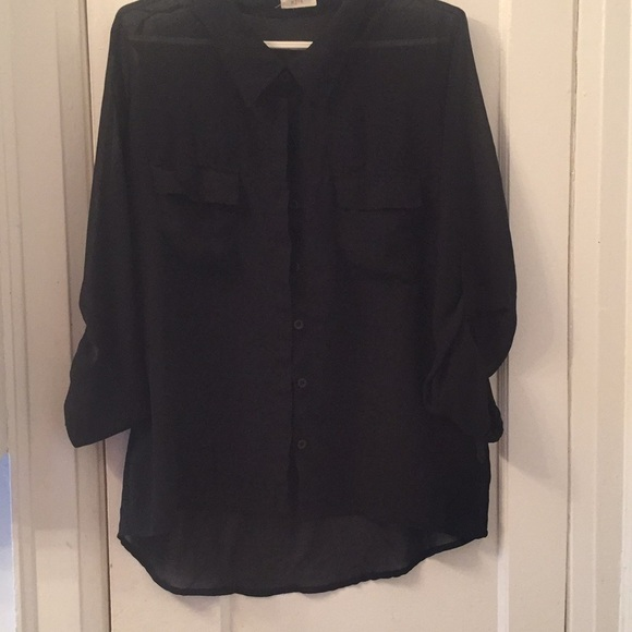 mine Tops - Black sheer button down shirt